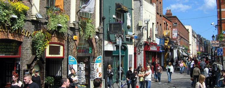 Belebte Straßen gibt es in Temple Bar zuhauf