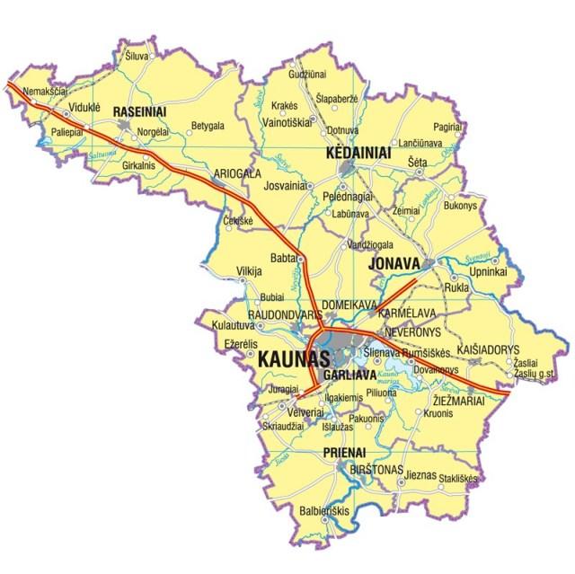 Landkarte von Litauen, Karte vom Bezirk Kaunas