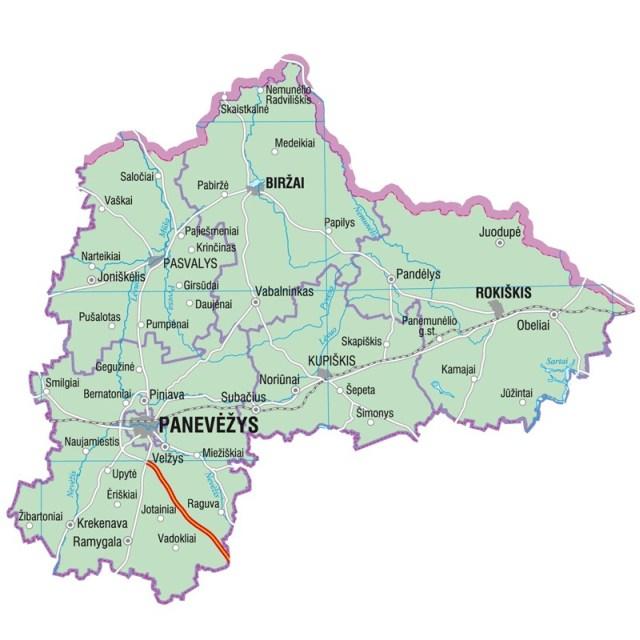 Landkarte von Litauen, Karte vom Bezirk Panevezys