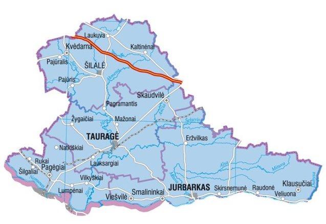 Landkarte von Litauen, Karte vom Bezirk Taurage