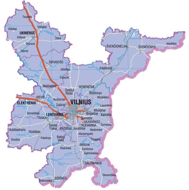 Landkarte von Litauen, Karte vom Bezirk Vilnius
