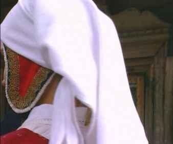 Frauenkopfbedeckung / Detail in Aukštaitija