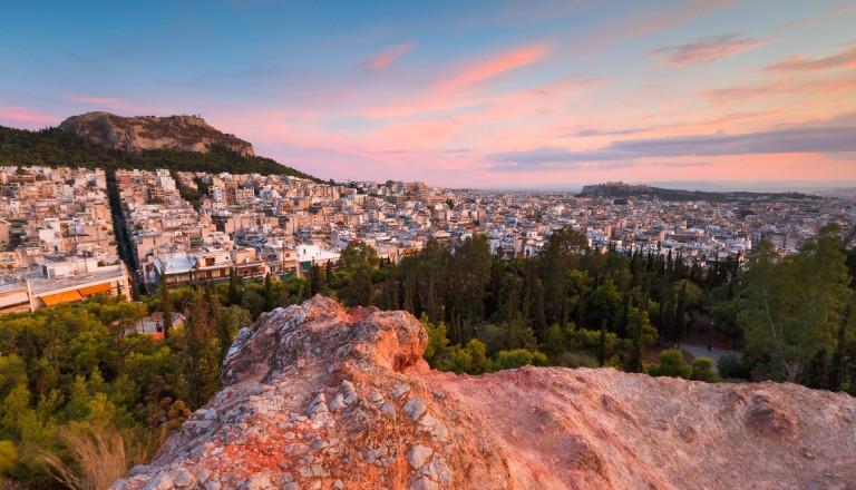 Sicht auf den Stadtteil Exarchia vom Strefi aus.