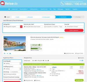 Screenshot Deals Spanien Hotel Pierre & Vancances