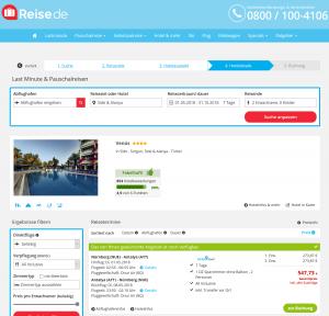 Screenshot Deals Türkei Hotel Venüs