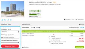 Screenshot Deal Fehmarn Hotel IFA