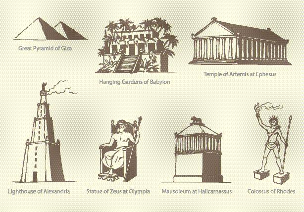 Die sieben Weltwunder der Antike.