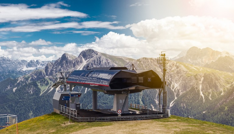 Südtirol Skiurlaub auf den Bergen.