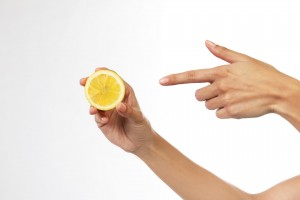 Essen Hand Zitrone