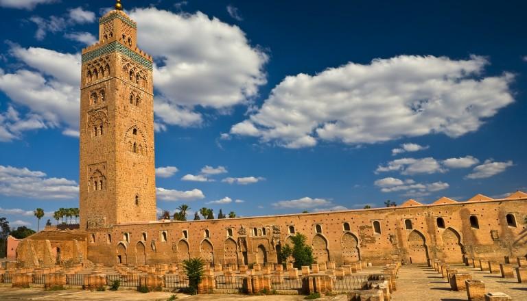 Die Koutoubia Moschee. Sehenswürdigkeiten in Marrakesch. Städtereisen.