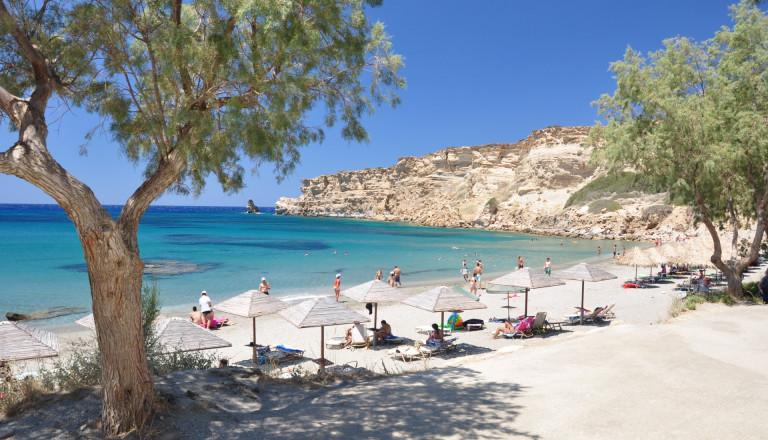 Erholung Pur am Strand von Triopetra auf Kreta.