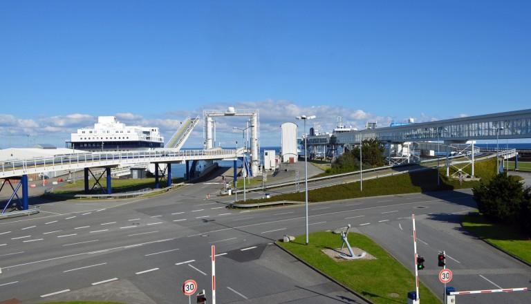 Der Fährhafen von Puttgarden auf Fehmarn