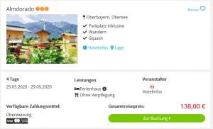 Screenshot Chiemsee Deal Ferienhaus Almdorado