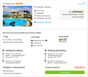 Screenshot Griechenland Deal Hotel Country Inn