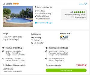 Screenshot Mallorca Deal Hotel Es Bolero