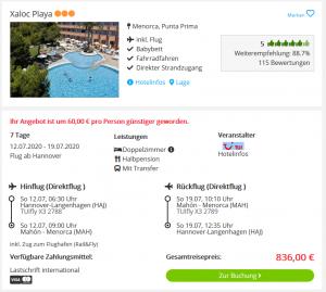 Screenshot Menorca Deal Hotel Xaloc Playa