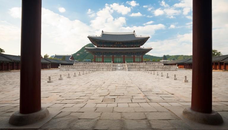 Der Gyeongbokgung Palast in Seoul.