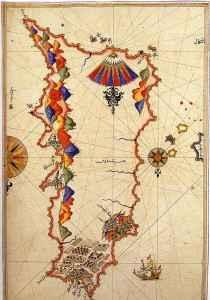 Antike Karte von Rhodos