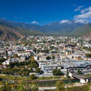 Blick auf die Hauptstadt Thimphu