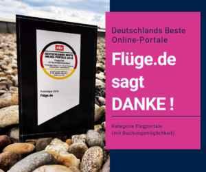 Flüge.de ist Deutschlands zweitbestes Flugportal 2019