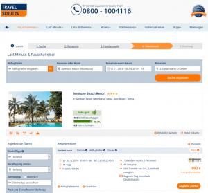 Screenshot Deal Neptune Beach Resort in Kenia
