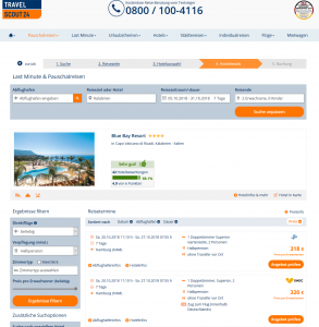 Screenshot Deal Blue Bay Resort Kalabrien Italien