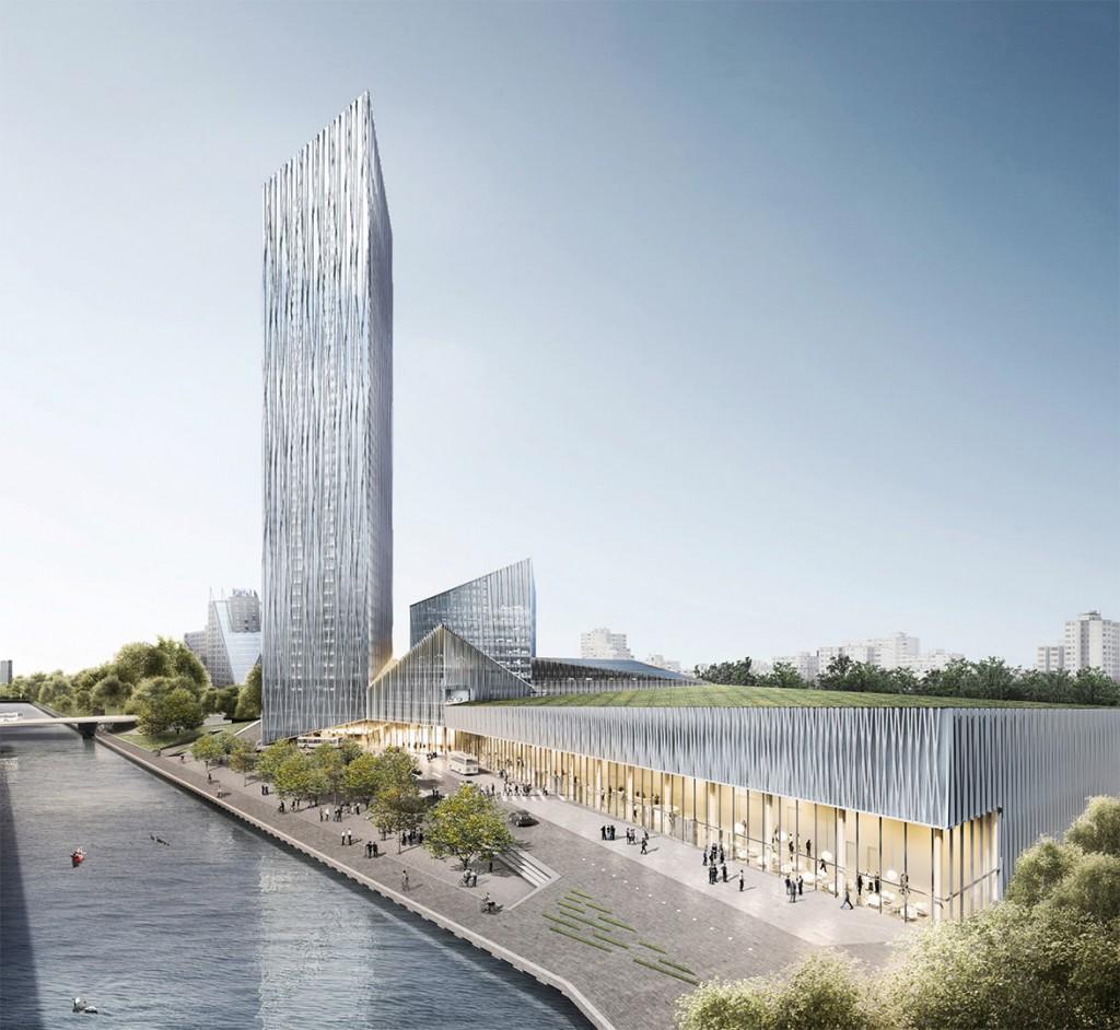 Estrel Tower mit begrüntem Platz am Wasser