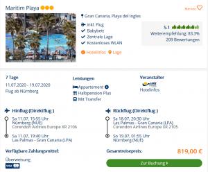 Screenshot Gran Canaria Deal Maritim Playa