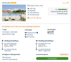 Screenshot Kroatien Deal Hotel Petalon