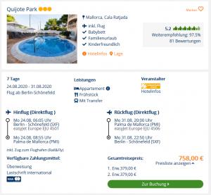 Screenshot Mallorca Deal Hotel Quijote Park