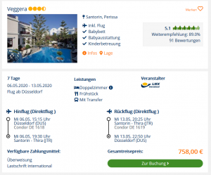 Screenshot Santorin Deal Hotel Veggera