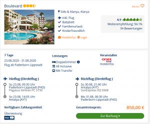 Screenshot Türkei Deal Hotel Boulevard
