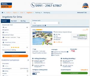 Screenshot Türkei Deal Hotel Drita Alanya