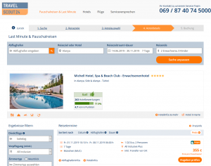 Screenshot Türkei Deal Michell Hotel Spa & Beach Club