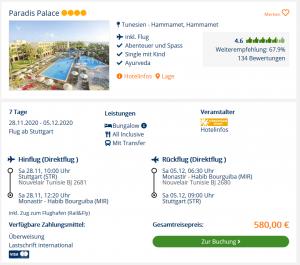 Screenshot Tunesien Deal Hotel Paradis Palace