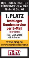 Testsieg Kundenservice per E-Mail 2016