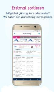 Flüge sortieren auf dem Android Smartphone