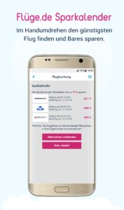 Flüge.de Sparkalender auf dem Android Smartphone