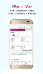 Übersicht Ihres Flugs auf dem Android Smartphone