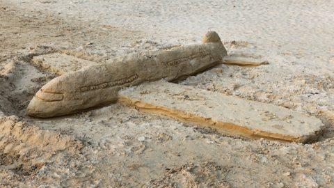 Jetlag Flugzeug Sand